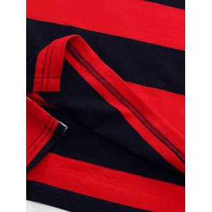 Badge brodé en couleur Block Panel Stripe Polo T-shirt -