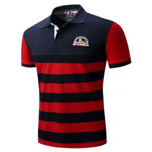 Badge Embroidered Color Block Panel Stripe Polo T-shirt - BLUE/RED M