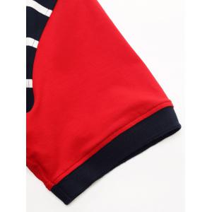 Badge Embroidered Color Block Panel Stripe Polo T-shirt - BLUE/RED XL