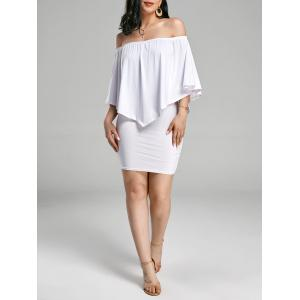 Off The Shoulder Poncho Bodycon Popover Dress - White - Xl