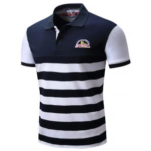 Badge Embroidered Color Block Panel Stripe Polo T-shirt - BLUE/WHITE 2XL