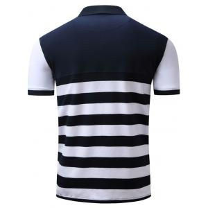 Badge Embroidered Color Block Panel Stripe Polo T-shirt - BLUE/WHITE L