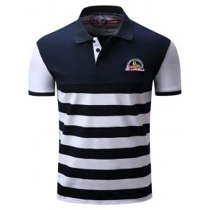 Badge Embroidered Color Block Panel Stripe Polo T-shirt - Blue And White - M