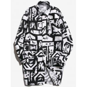 Chest Pocket Geometric Printed Coat