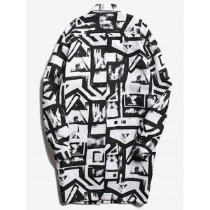 Chest Pocket Geometric Printed Coat - WHITE AND BLACK S