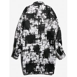 Chest Pocket Tie Dyed Coat - WHITE AND BLACK 2XL