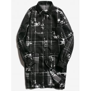 Turndown Collar Tie Dyed Checked Coat - Black - 2xl
