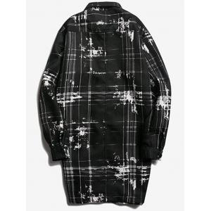 Turndown Collar Tie Dyed Checked Coat - BLACK L