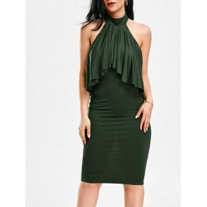 High Neck Flounce Backless Sleeveless Work Christmas Party Dress