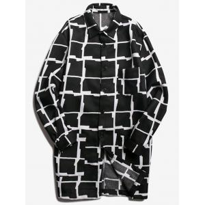 Chest Pocket Turndown Collar Checked Coat - Black - 2xl