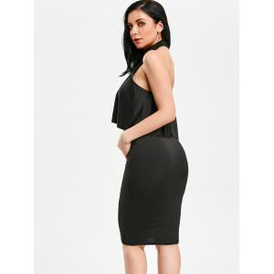 High Neck Flounce Backless Sleeveless Christmas Party Fitted Dress - BLACK M