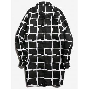 Chest Pocket Turndown Collar Checked Coat - BLACK M