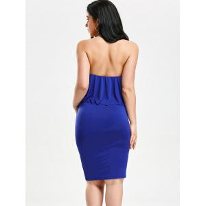 High Neck Flounce Backless Sleeveless Christmas Party Fitted Dress -