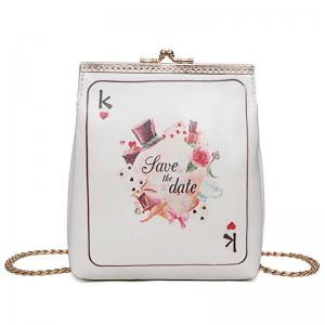 Poker Print Chain Crossbody Bag