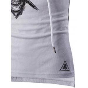 Drawstring Hooded Skull Print Sport Tank Top - WHITE XL