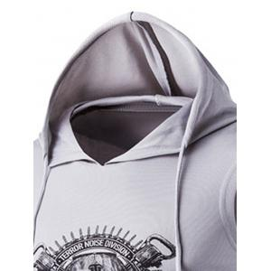 Drawstring Hooded Skull Print Sport Tank Top -