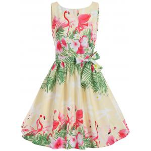 Swan Print A Line Summer Party Vintage Dress
