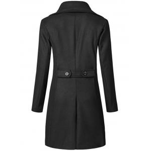 Wide Lapel Double Breasted Trench Coat - BLACK 2XL