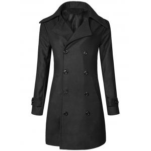 Wide Lapel Double Breasted Trench Coat - Black - M