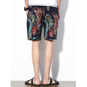 Paisley Print Drawstring Shorts - PURPLISH BLUE XL