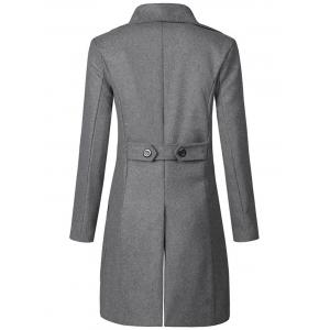 Wide Lapel Double Breasted Trench Coat - GRAY M