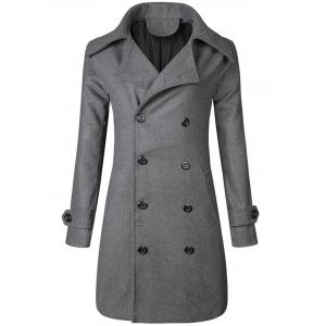 Wide Lapel Double Breasted Trench Coat - Gray - M