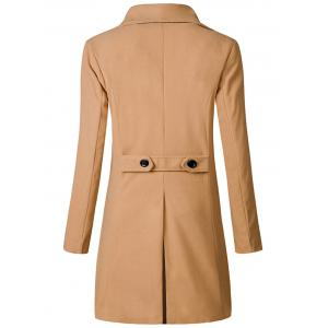 Wide Lapel Double Breasted Trench Coat - KHAKI L