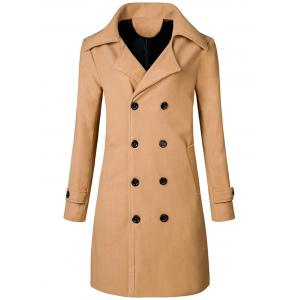 Wide Lapel Double Breasted Trench Coat - Khaki - M