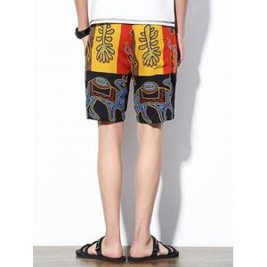 Abstract Animal Print Drawstring Shorts - COLORMIX XL