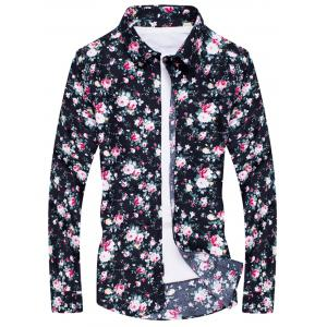 Long Sleeve All Over Peony Print Shirt