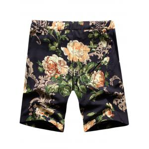 Peony Print Drawstring Shorts - BLACK 3XL