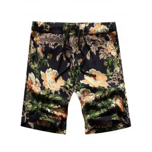 Peony Print Drawstring Shorts - Black - Xl