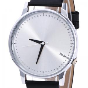 Minimalist Faux Leather Strap Quartz Watch - BLACK + SILVER