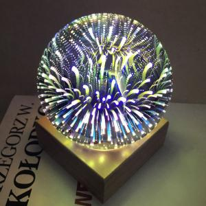 Colorful 3D Fireworks Ball Shape USB Table Lamp with Wood Base -