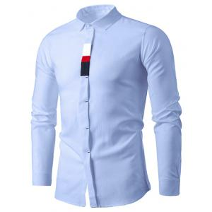 Long Sleeve Cover Placket Color Block Panel Shirt - Lake Blue - L