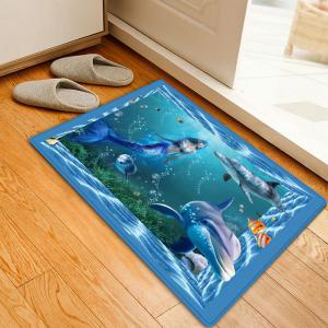 Mermaid Dolphin Pattern Anti-skid Water Absorption Area Rug - Colormix - W16 Inch * L24 Inch
