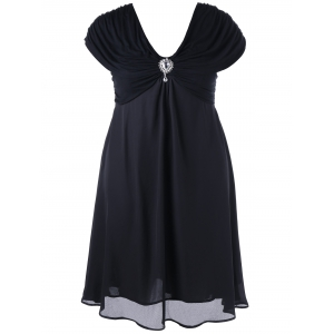 Plus Size Cap Sleeve Chiffon Ruched Dress - Black - 3xl