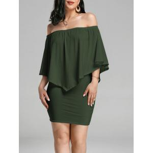 Off The Shoulder Poncho Bodycon Popover Dress - Army Green - S