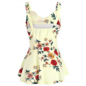 High Waist Backless Floral Peplum Tank Top - PALOMINO XL