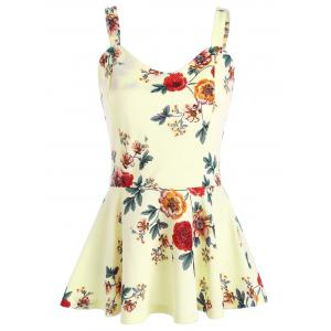 High Waist Backless Floral Peplum Tank Top - Palomino - M
