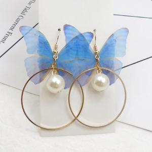 Artificial Pearl Yarn Butterfly Circle Earrings