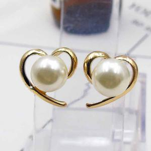 Faux Pearl Heart Shape Stud Earrings