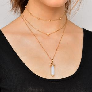 Natural Stone Collarbone Heart Necklace Set