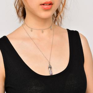 Natural Stone Collarbone Pendant Necklace Set