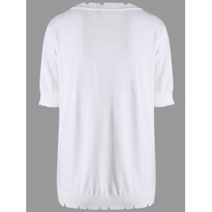 Plus Size Crew Neck Knit Top - WHITE 3XL