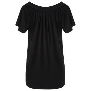 Plus Size V Neck Beaded Top - BLACK 3XL