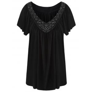 Plus Size V Neck Beaded Top - Black - 8xl