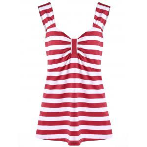 Plus Size Striped Bowknot Top