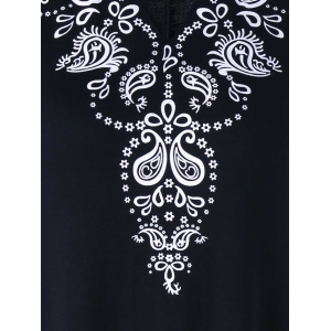 Floral Print V Neck Longline Tank Top - BLACK XL