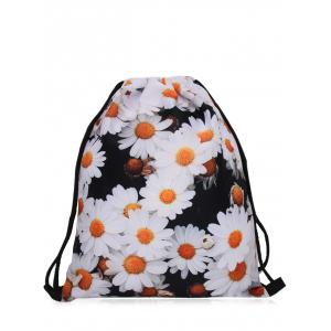 Print Nylon Drawstring Bag - Black White - 40